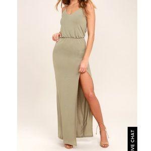 LULU'S Washed Olive Green Maxi Dress (XS) NWT